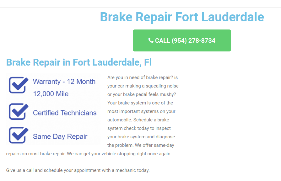 Brake Repair Fort Lauderdale