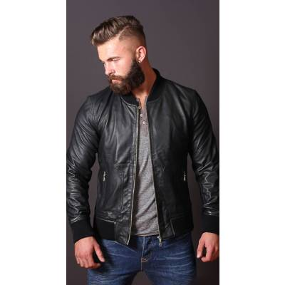 black leather bomber jacket mens